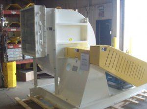 A spark-resistant fan with nonferrous construction elements